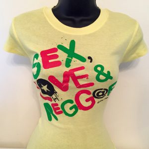 Ladies Yellow Sex Love & Reggae Spandex Tees