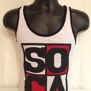 Men's Soca Red, White, Black Tank Tees